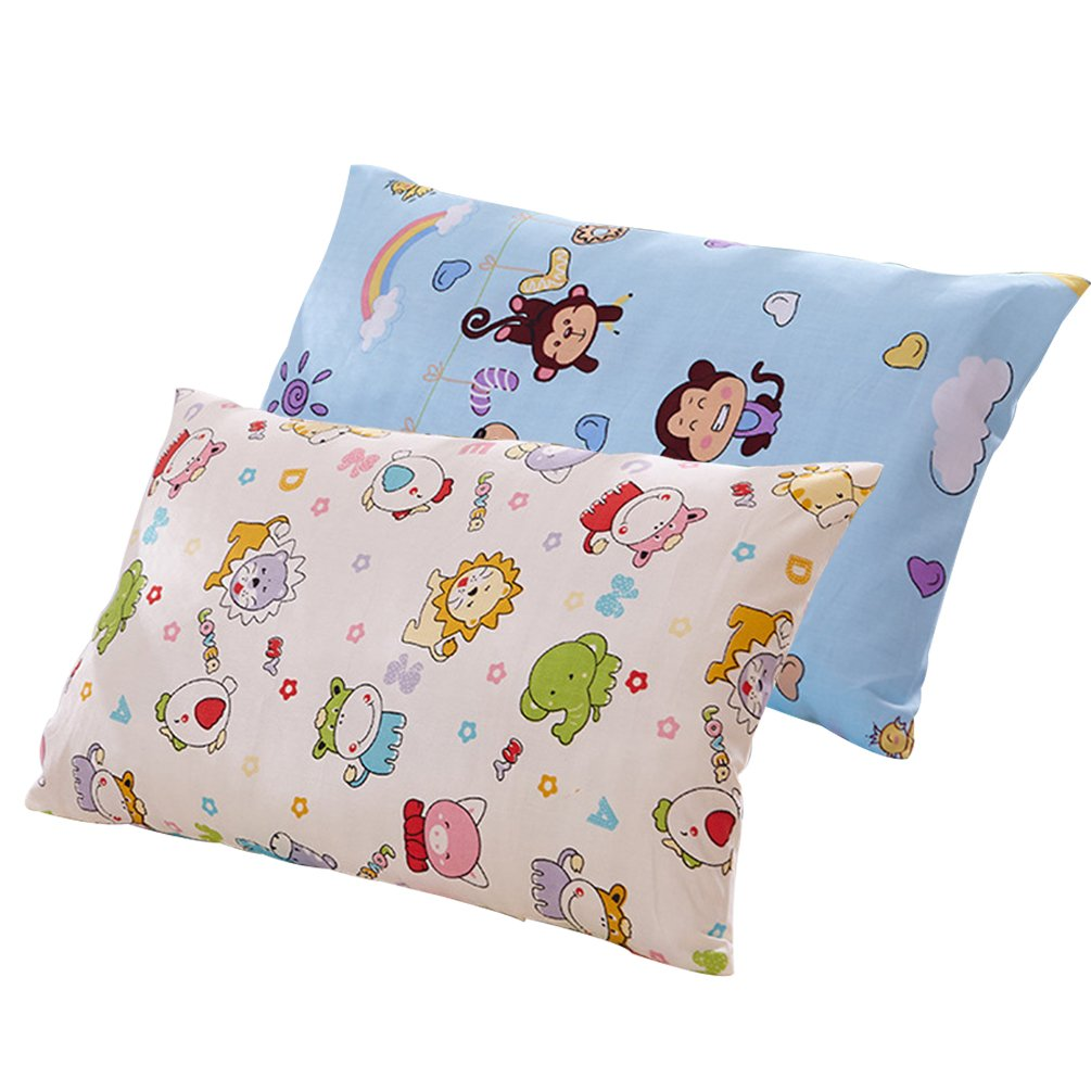 AHCUTE Toddler Pillowcases 2 Pack 100% Cotton Pillowslip Case 13 x 18 for Super Soft Kids Bedding Cute Animals (Animals)