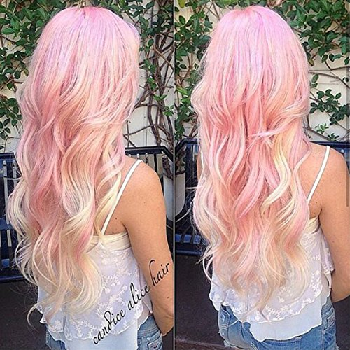 S-noilite 28 inch Heat Resistant Synthetic Hair Dyeing Color Ombre Two Tone Full Wig Women Ladies Girls Anime Costume Cosplay Wig (long wigs, Pink to white)