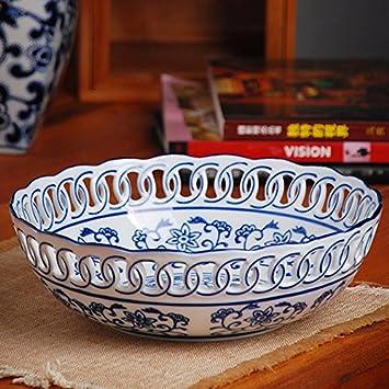 Simple Ceramic Candy Dish Modern Porcelain Fruit Plate,C,High 11Cm/× Diameter 28Cm