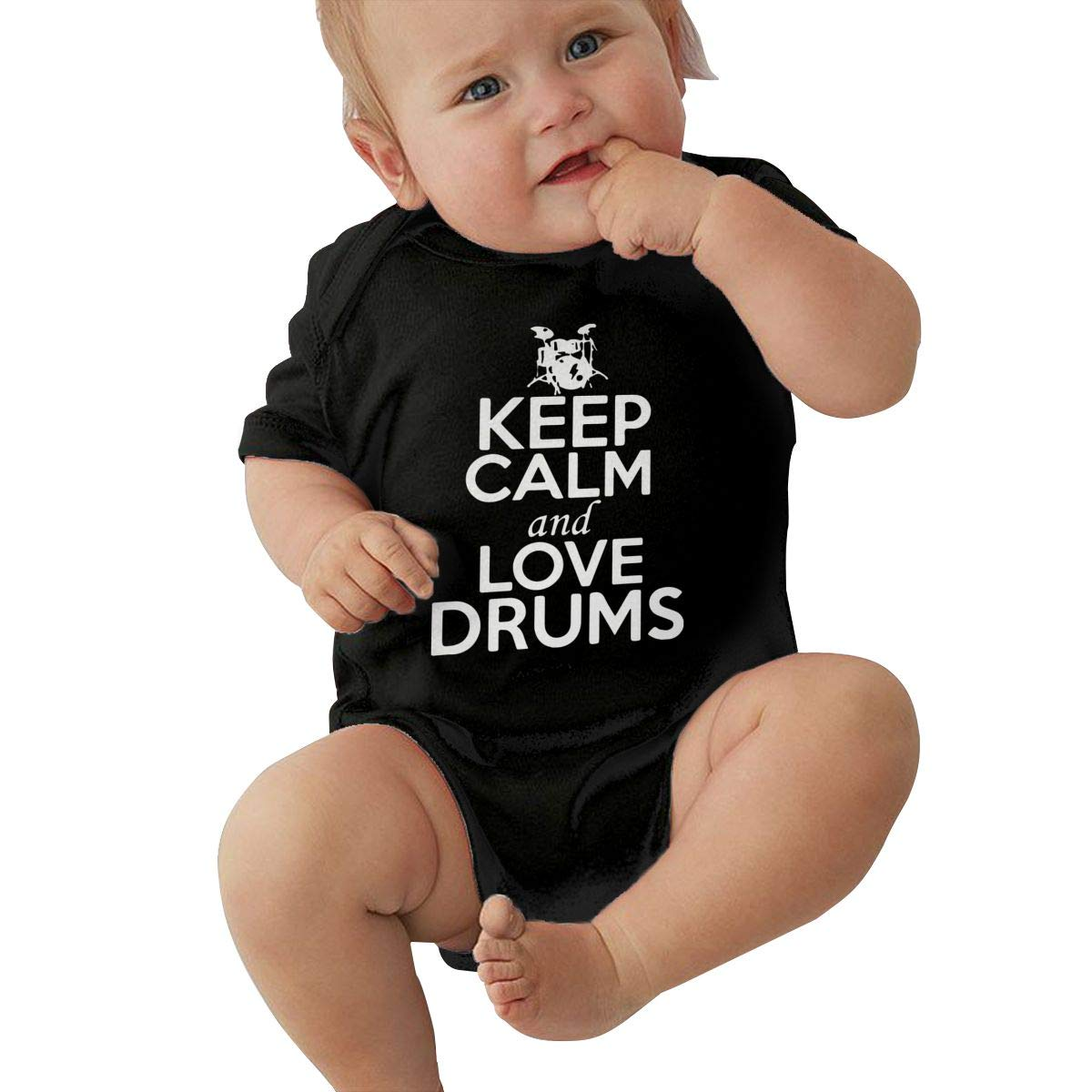 Keep Calm and Love Drums Printed Summer Infant Baby Girl Boys Short Sleeve Jumpsuits Playsuit Outfits Shirt