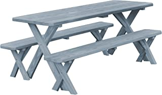 product image for Pressure Treated Pine 8 Foot Cross Leg Picnic Table with Detached Benches- Gray Stain