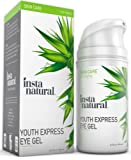 InstaNatural Eye Gel Cream - Wrinkle, Dark Circle, Fine Line & Redness Reducer - Pure & Organic Anti Ageing Blend for Men & Women with Hyaluronic Acid - Fight Bags & Lift Skin - 0.5 OZ Travel Size