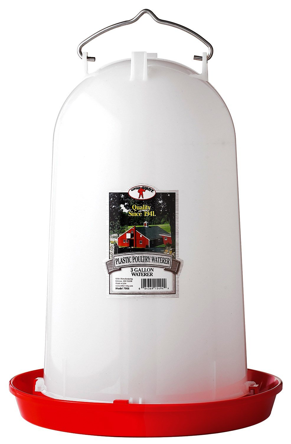 LITTLE GIANT 3 Gallon Poultry Waterer 7906, 3 gal, White by LITTLE GIANT