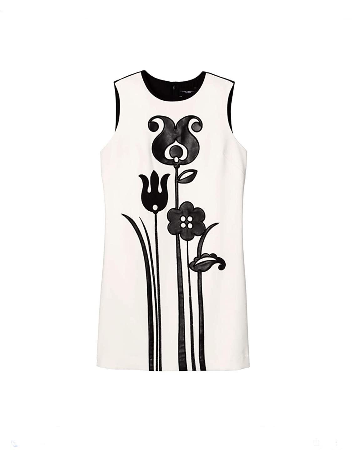 1960s Mad Men Dresses and Clothing Styles Victoria Beckham Womens Black and White Mod Shift Tulip Applique Dress $29.95 AT vintagedancer.com