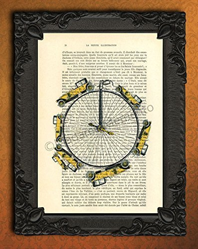 Yellow oldtimer wall decor, bicycle wheel art print, automobile car artwork on dictionary page