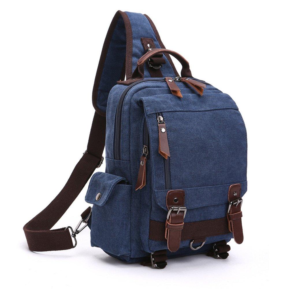 NANJUN Dual-use Canvas Big Casual Backpack Shoulder Bag for Men Women(jb008-Navy)