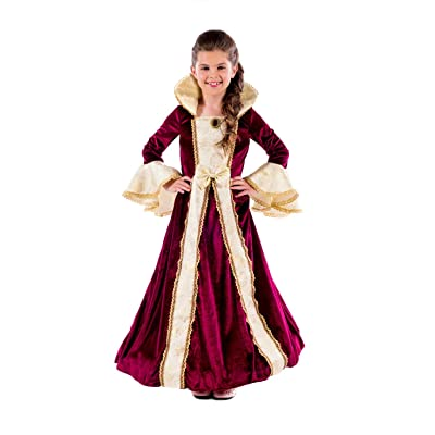 Kids Deluxe Princess Costume Girls Burgundy Royal Gown Queen Dress Outfit - Large: Toys & Games