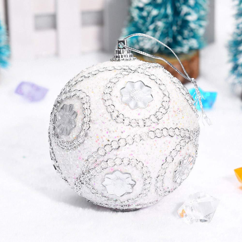 3.1 inch Christmas Tree Ball Decoration Christmas Rhinestone Glitter Baubles Balls Xmas Ornaments (White, 80mm)