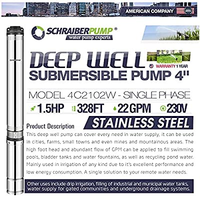 "SCHRAIBERPUMP 4"" Deep Well Submersible Pump 1.5HP, 230v, 323'head, 140 PSI (max), 10 stages, 22GPM, 2 wire, stainless steel, INCLUDES WIRE SPLICE KIT"