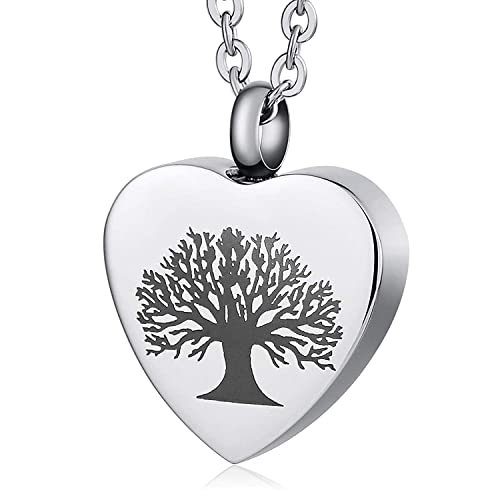 ANAZOZ Stainless Steel Pet Loss Memorial Cremation Necklace for Ashes Keepsake Pendant Flower Silver