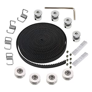 Calorbot 5M GT2 Timing Belt 6mm Width + 4pcs 20 Teeth 5mm Bore Belt Pulley Wheel + 4pcs Idler + 4pcs Tensioner Spring Torsion + 2pcs Gear Clamp Mount Block with Allen Wrench for 3D Printer RepRap
