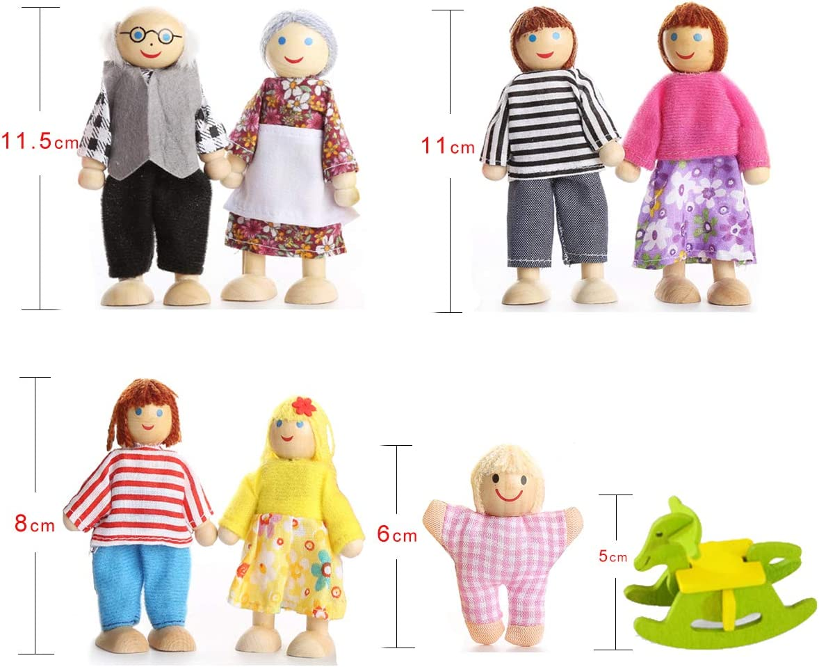 Blssom Kid Family Dolls Children Lovely Happy Dolls Family Playset Wooden Figures Set Of 7 Dolls Wooden Joint Dolls Funny And Cute Printing As Creative Gifts For Family And Friends