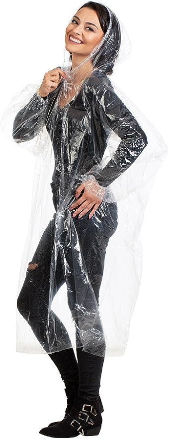 poncho de lluvia desechables for adultos impermeable Desechable impermeable con capucha con cord/ón el/ástico y mangas for Eventos viaje que va de excursi/ón al aire libre ligero f/ácil de llevar