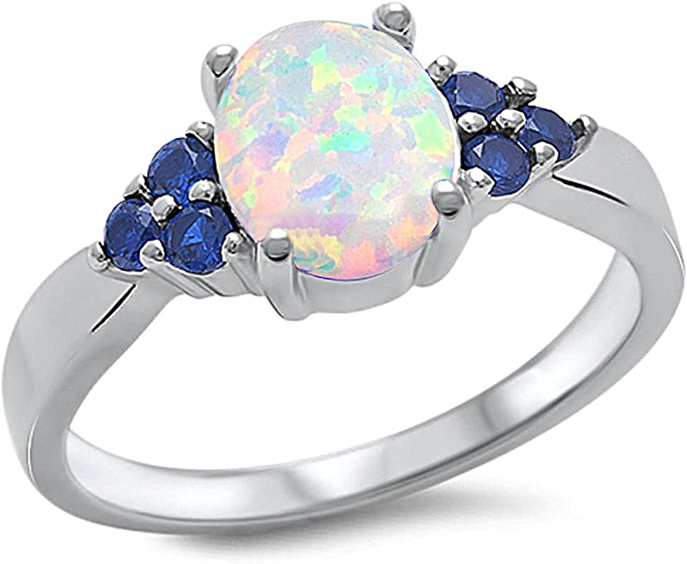 USA Seller Hearts Ring Sterling Silver 925 Jewelry White Lab Opal Blue Sapphire