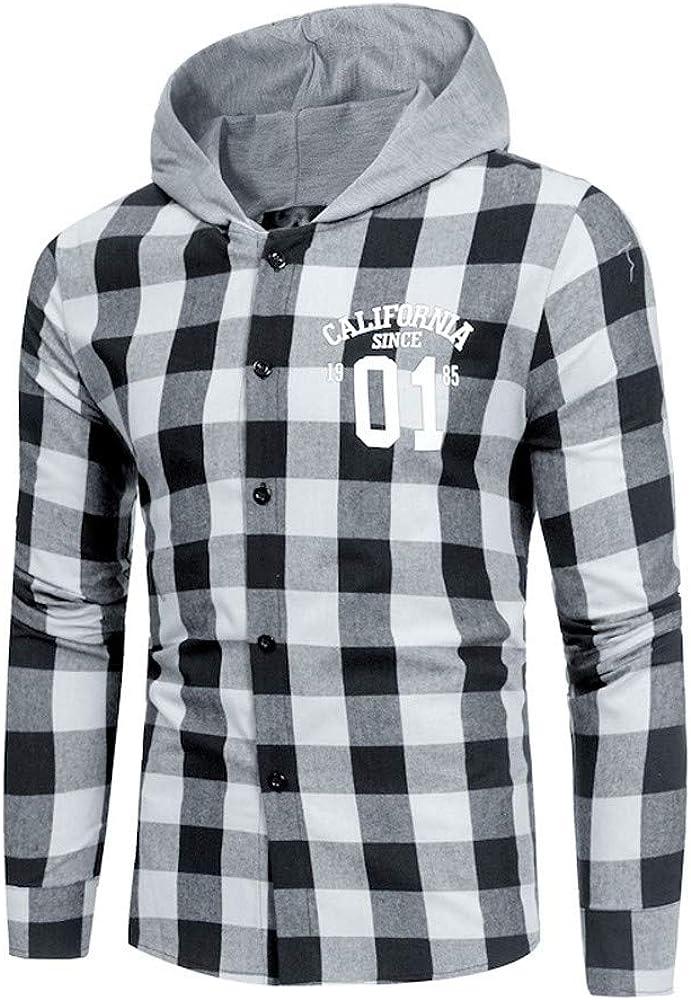 JiaMeng Hoodie Sudaderas de Manga Larga Camisas de Cuadros Casuales otoñales Camisa de Jersey de Manga Larga Blusa Superior: Amazon.es: Ropa y accesorios