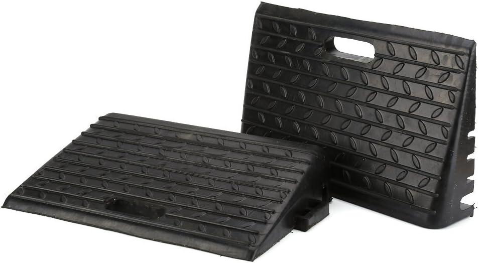 Ejoyous 2X Umbral de Goma Negro Rampas de acera para automóviles Movilidad en Silla de Ruedas Acceso para discapacitados