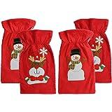 4x Weihnachts Geschenkbeutel aus Filz 18 x 28 cm Geschenk Nikolaus Beutel Sack Tasche Verpackung S/äckchen Nikolaussack Geschenksack