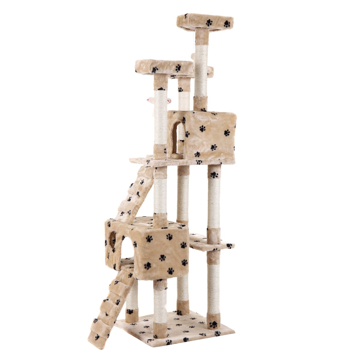 LAZYMOON 67'' Cat Tree 4-Tier Tower Condo Play House Furniture w/ Scratching posts and Toy Mouse Beige with Footprint by LAZYMOON (Image #4)