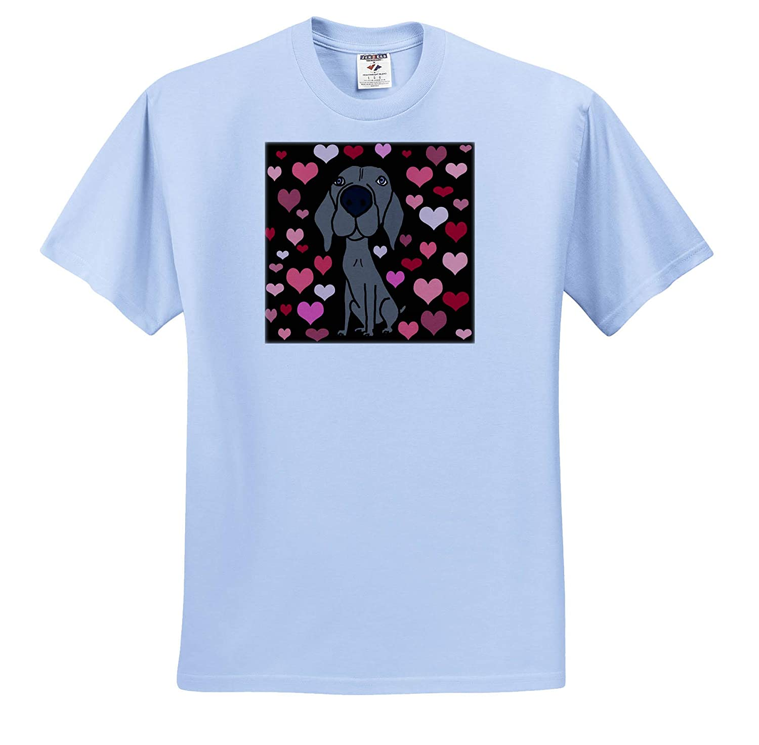Funny Cute Weimaraner Dog and Heart Love Pattern Abstract 3dRose All Smiles Art Pets T-Shirts
