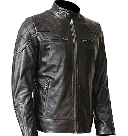 6706ef029 WONDERPIEL Men Skull and Bones Leather Biker Jacket - Vintage Jackets For  Motorcycle Rider - Genuine Lambskin - Black