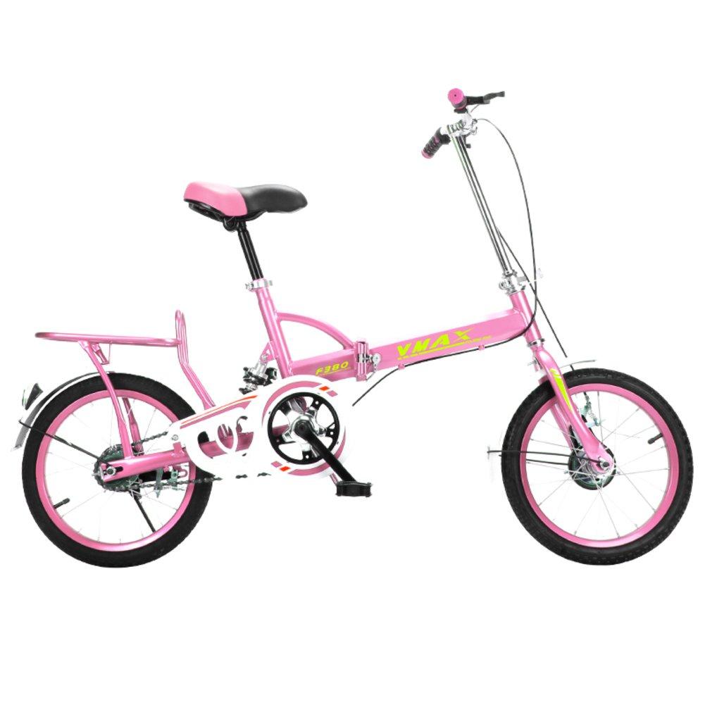 学生折りたたみ自転車, 折りたたみ自転車 男性と女性 軽量 子供たち 学校 折り畳み自転車 B07CZZKYJV 16inch|ピンク ピンク 16inch