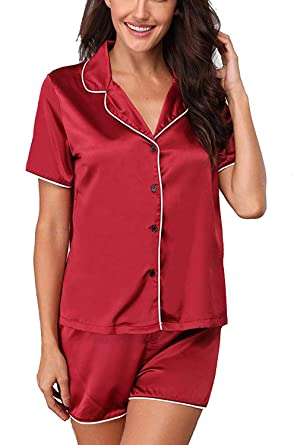 Memory baby Women Summer Short Sleeve Pajama Set 2 Pieces Shorts Sleepwear  Wine Red S 71f39306b