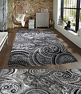 LA Interiors Black Grey White Cream Persian Traditional Transitional Brand New Multi Floral Pattern Polyester Rug Carpet Area Rug