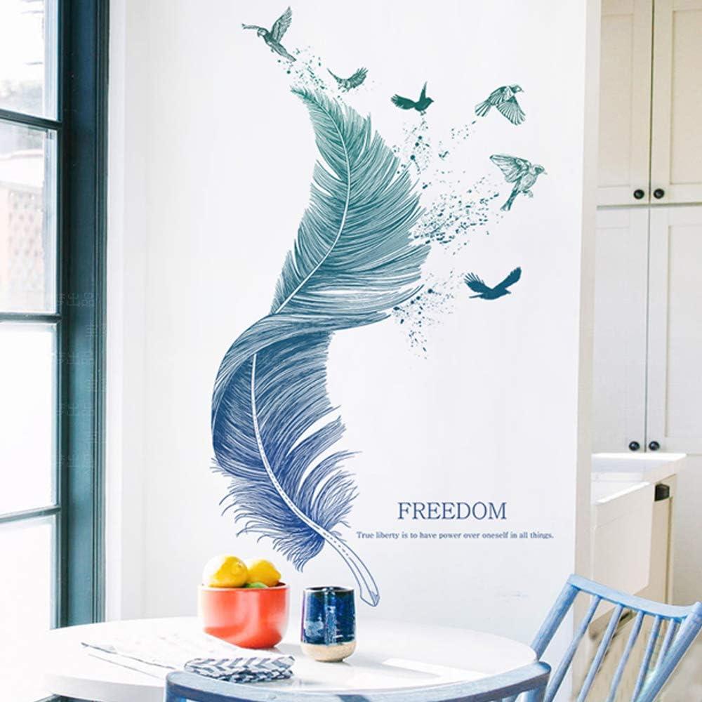 Pour La Studio Chambre Salon Placard Chambre des Enfants Fen/être Cuisine Couloir Stickers muraux 123x72cm Bleu AILANDA 1Pcs Pdrui Sticker Mural Pour Plume Autocollant Mural D/écoration