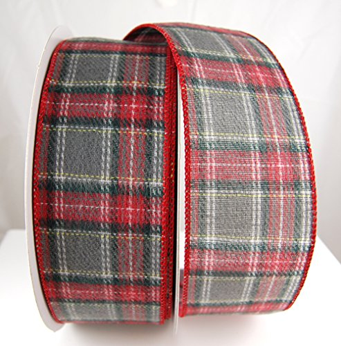 (Wire Edged Windham Grey, red and White Plaid Christmas Ribbon 2 1/2