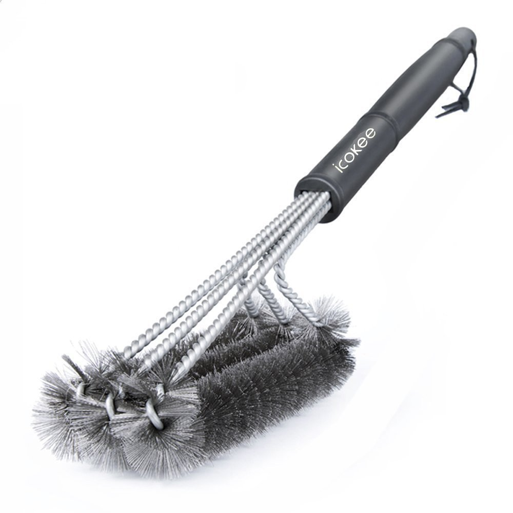 """Icokee BBQ Grill Brush, 3 Stainless Steel Brushes in 1, 360° Clean, 17.5"""" Barbecue Grill Brush for All Stainless Steel, Ceramic, Iron and Porcelain Barbecue Grates"""