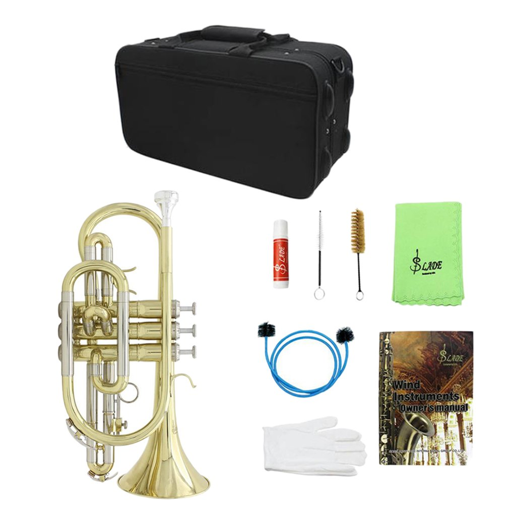 kesoto Professional Brass Bb Flat Cornet with Carrying Bag, Golden