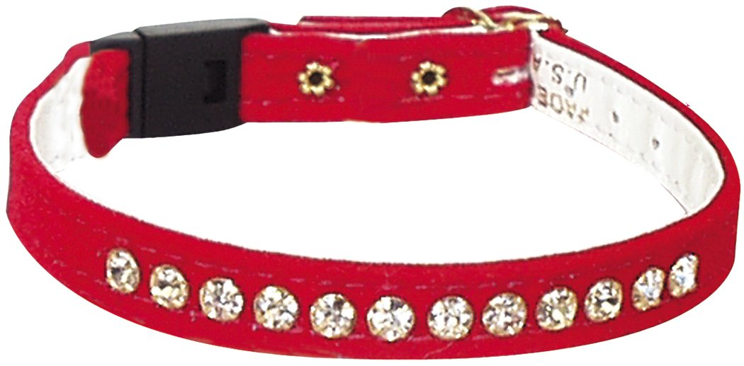 Red 12-Inch Red 12-Inch Pet Supply Imports Velveteen Jeweled Break Away Cat Collar, Red, 12-Inch