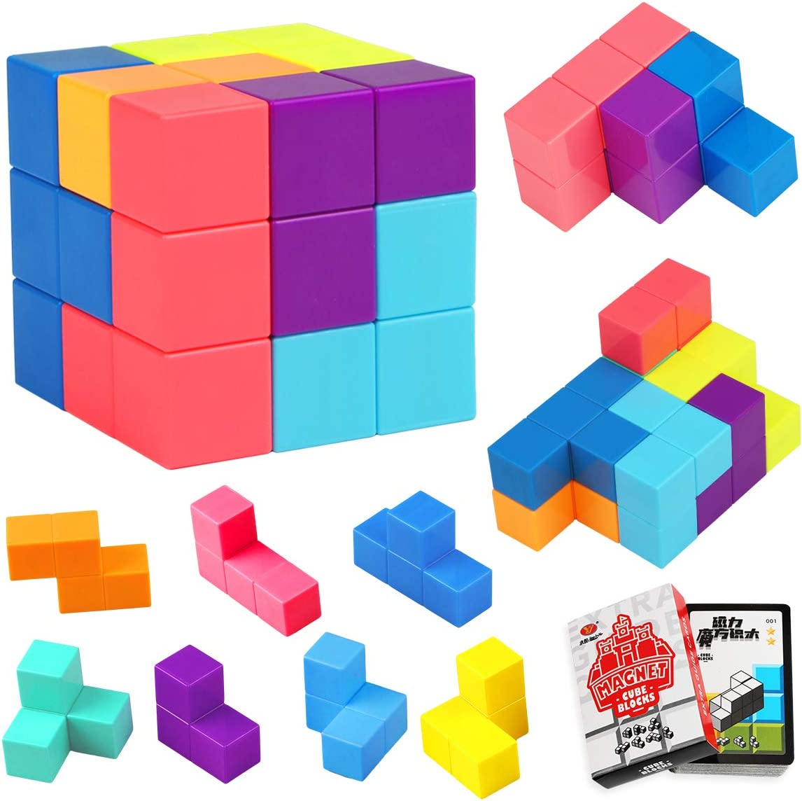 Kids Magnetic Cube Puzzle Removable Building Block IQ Intelligent Training Toy