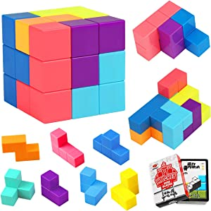 Aitey Magnetic Building Blocks, Magnetic Infinity Puzzle Cube, Brain Teaser Travel Games Toys for Kids Adult with 54pcs Cards (Small Size)
