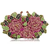 Women Rose Evening Bags Crystal Diamond Clutches Wedding Party Purse (Multi-Pink)