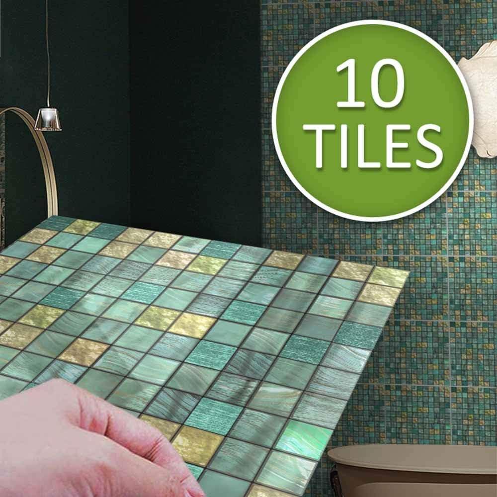Hiser 10 Piezas Adhesivos Decorativos para Azulejos Pegatinas para Baldosas del Ba/ño//Cocina Estilo de Mosaico de Metal Resistente al Agua Pegatina de Pared Azul,15cm x 15cm