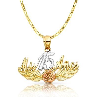 89b29d39c0d9 ioka joyas - 14 K Tri Color Oro dulce 15 años quinceañera mis 15 Anos  encanto colgante con 2 mm figaro 3 + 1 cadena collar  Amazon.es  Joyería