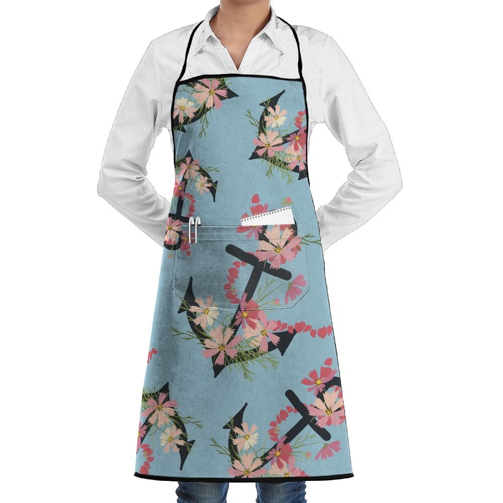 Black Anchor Flower Gift Women Waterproof Aprons For Cooking Apron With Pockets