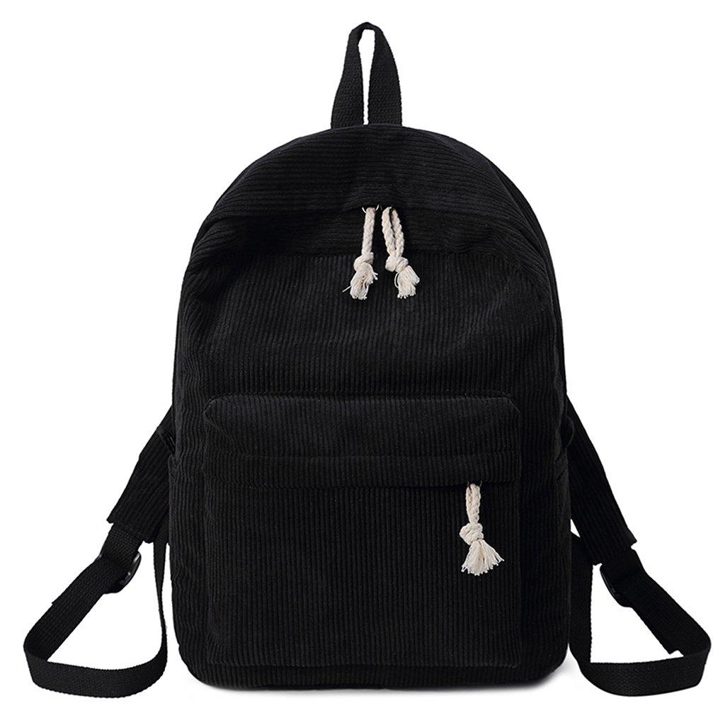 Upupo Travel Laptop Backpack, Corduroy Bagpack College School Computer Bag for Women & Men, 15.6 Inch Casual School Bookbag (Black)