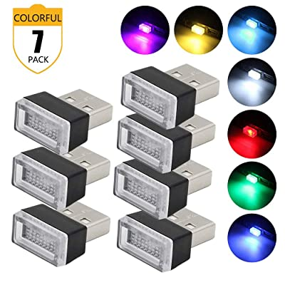 Lipctine USB LED Car Interior Atmosphere Lamp, Night Led Decoration Mini USB Light, Ambient Lighting Kit, Charging for Cars, Interior Led Lights White Blue Red Yellow Green Pink Ice Blue (7 Colors): Automotive [5Bkhe1000462]