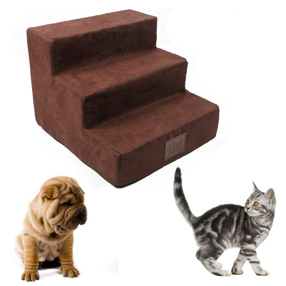 FidgetGear Portable 3 Steps Dog Steps for High Bed Pet Stairs Small Dogs Cats Ramp Ladder