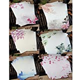 Ziye Shop 48 Pcs Writing Stationery Paper Chinese Style Vintage Flower Craft Letter Paper (6 models, 8 sheets per model) (A)