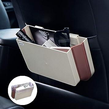 Plastic Foldable Garbage Bin Bag Hanging Auto Back Seat Car Universal Trash Can Storage Box Black+Brown Mr.Ho Car Trash Bin