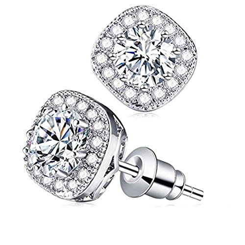 f9c912b5c Cubic Zirconia Stud Earrings, Cat Eye Jewels S925 Sterling Silver Round Diamond  Crystal Halo Earring