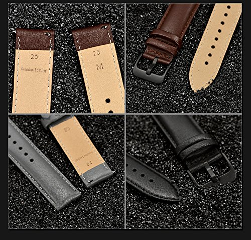 LEUNGLIK 20mm Watch Band Quick Release Leather Watch Bands with Black Stainless Pins Clasp -Brown by LEUNGLIK (Image #6)