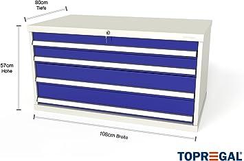 Armario de herramientas de 110 cm de ancho con 4 cajones o 2 puertas correderas.: Amazon.es: Hogar