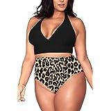 VamJump Women's Plus Size Bikini Set High Waist Tummy Control Strappy Swimwear Bathing Suits