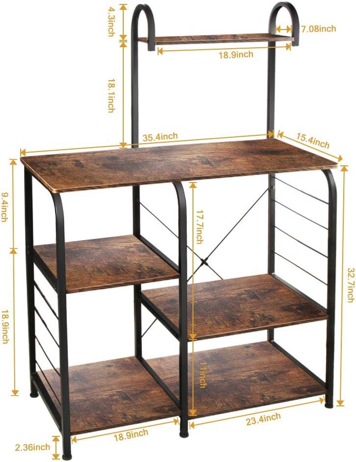 "VANSPACE Indusrial Kitchen Baker's Rack Utility Storage Shelf Microwave Stand 4-Tier + 3-Tier Kitchen Storage Cart Table for Spice Rack Organizer Workstation with 5 Hooks - 35.5"" Vintage Brown - Standing Baker's Racks"