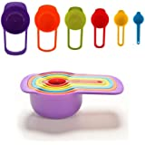 Set of 6 Measuring Cup and Spoon Set - Stackable Colorful Plastic for Kitchen Baking tools - Best gift for Kids, Children - Dishwasher Safe, Colorful