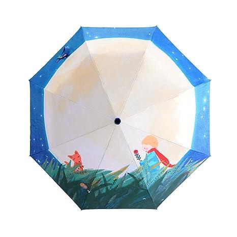 Flower205 paraguas plegables ilustración paraguas pequeño príncipe plata protector solar de plástico paraguas tríptico 8 huesos
